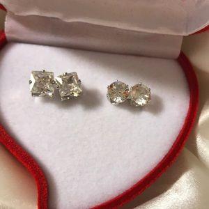 2 CZ Diamond Earring Princess 2.80 & Round 3 Carat